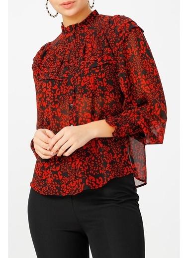 Random Kadın Hakim Yaka Desenli Gömlek Kırmızı
